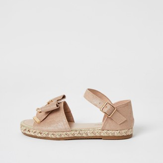 River Island Girls Pink bow front espadrille sandals