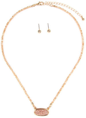 Riah Fashion Druzy-Quartz Crystal-Bead-Necklaces With-Stud-Earring