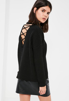 Missguided Black Chunky High Neck Lace Up Back Sweater