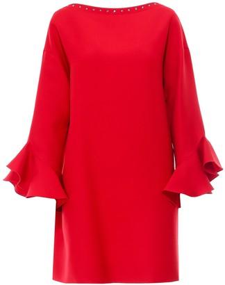 Valentino Embellished Ruffle Trim Shift Dress