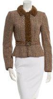 Alberta Ferretti Shearling-Trimmed Wool Jacket