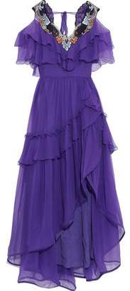 Alberta Ferretti Cold-shoulder Embellished Ruffled Silk-chiffon Gown