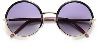 Cutler & Gross 54MM Leather-Trimmed Round Sunglasses