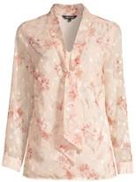 Misook Floral Tie-Neck Blouse