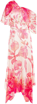 Peter Pilotto Draped Embellished Floral-print Hammered Silk-blend Satin Midi Dress