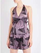AIMEE Striped jacquard silk-blend pyjama top