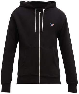 MAISON KITSUNÉ Tricolor Fox Applique Cotton Hooded Sweatshirt - Mens - Black