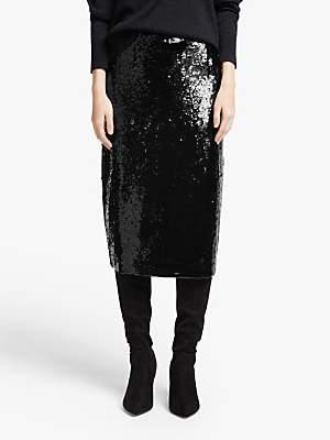 John Lewis & Partners Sequin Pencil Skirt, Black