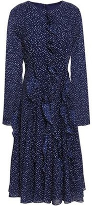 Mikael Aghal Ruffled Polka-dot Chiffon Midi Dress