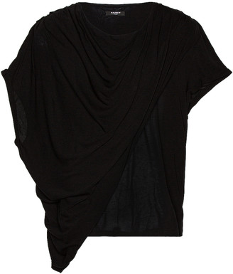 Balmain Draped T-Shirt in Noir | FWRD