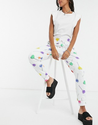 Love Moschino lollypop print joggers in white