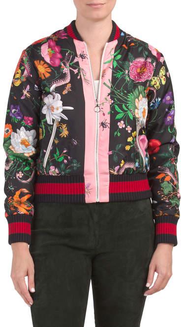 aee28c498ce Floral Silk Bomber Jacket - ShopStyle