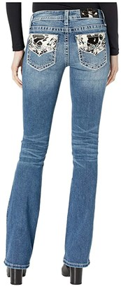 Miss Me Mid-Rise Bootcut with Cow Hide Flap in Dark Blue (Dark Blue) Women's Jeans