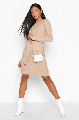 boohoo Belted Waist Knitted Mini Dress