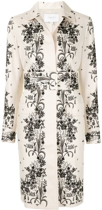 Giambattista Valli Belted Floral-Embroidered Coat