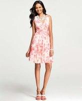 Ann Taylor Floral Print Chiffon Crossover Dress