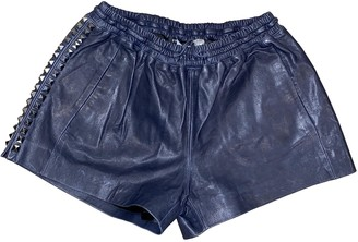 Philipp Plein Blue Leather Shorts for Women