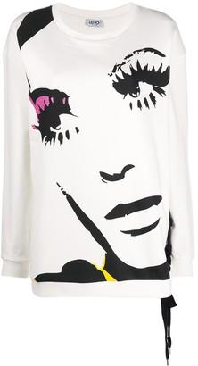 Liu Jo Face-Print Lace-Up Sweatshirt