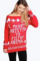 Boohoo Violet Slash Neck Filthy Animal Christmas Jumper