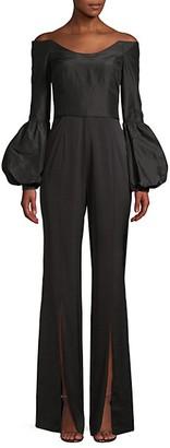 Flor Et. Al Katherine Off-The-Shoulder Puff-Sleeve Jumpsuit