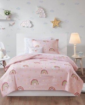 Mi Zone Kids Alicia Twin 6 Piece Rainbow with Metallic Printed Stars Complete Bed and Sheet Set Bedding