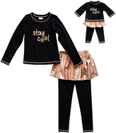 Dollie & Me Black & Rose Gold 'Stay Cool' Tee Set & Doll Outfit - Girls
