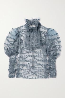 Rodarte Gathered Glittered Tulle Blouse - Light blue