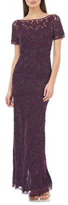 JS Collections Beaded Soutache Evening Gown