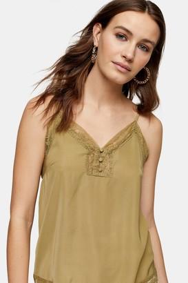 Topshop Womens Khaki Lace Button Cami - Khaki