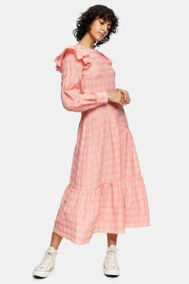 Topshop Neon Coral Check Midi Dress