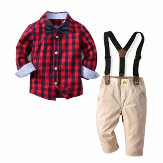 Overalls Dungarees Trousers Pants 2Pcs Spring Autumn Casual Outfits for 1-5 Years Kids Gyratedream Baby Boy Clothes Set Plaid Shirts Long Sleeve Shirt Tops