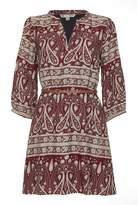 Yumi Tunic Belt Dress With Monochrome Paisley Print