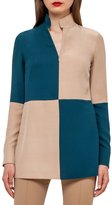 Akris Bicolor Long-Sleeve Tunic Blouse, Camel/Seabiscuit