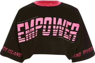 River Island Girls Black 'Empower' cropped T-shirt