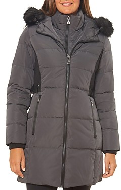 Vince Camuto Faux Fur Trim Contrast Knit Puffer Coat