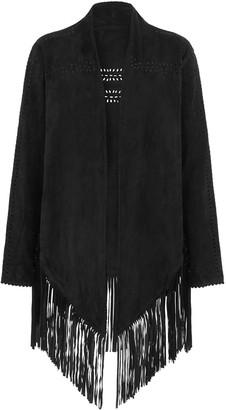 House Of Dharma Suede Fringe Jacket - Black