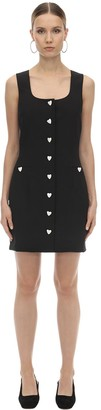 Heart Button Embellished Crepe Mini Dres