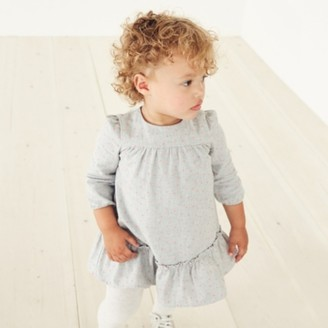 The White Company Heart Print Dress, Grey, 0-3mths