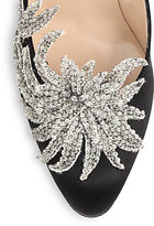 Manolo Blahnik Swan Embellished Satin Pumps