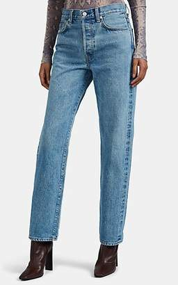CQY Women's Vinyl Relaxed Jeans - Blue