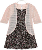 Knitworks Knit Works Floral Tank Top with Cardigan & Necklace - Girls' 7-16