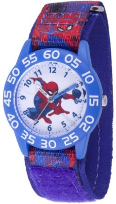 Marvel Spider-Man Boys' Blue Plastic Time Teacher Watch, Red and Blue Printed Spider-Man Hook and Loop Nylon Strap