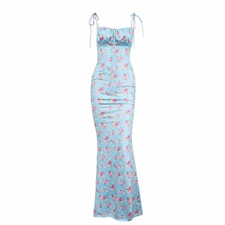 DISSA Women Blue Printing Sleeveless Sheath Dress Backless Slip Dress Sexy Bodycon Maxi Dresses Party Cocktail Business D2573s 10