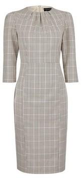 Dorothy Perkins Womens Multi Colour Checked 3/4 Sleeve Pencil Dress