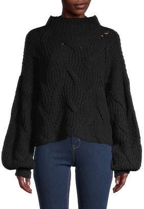 Free People Cable-Knit Cotton Sweater