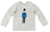 Burberry Police Officer Graphic Long-Sleeve Tee, Medium Gray, 12-18 Months