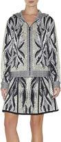 Herve Leger Ade Batik-Leaf Jacquard Jacket