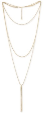 "Rachel Roy Gold-Tone Crystal Triple-Row Lariat Necklace, 16"" + 2"" extender"