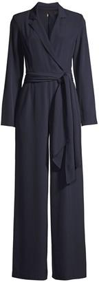 Donna Karan Long-Sleeve Belted Jumpsuit