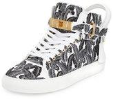 Buscemi 100mm Palm High-Top Sneaker, Black/White